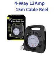 4 Gang 15m Extension Reels Electrical Power Lead Cable Mains Plug4 Gang 15m