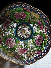 Antique Plique aJoun Cloisonne Stained Glass Bowl