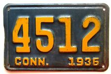 Connecticut 1936 License Plate NICE QUALITY # 4512