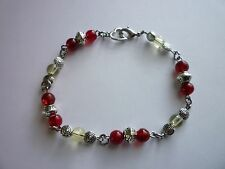 Silver Tone Charm Bracelet 8inches Glass & Tibetan Silver Lobster Clasp