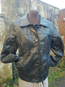 Vtg 80s Only Genuine Pig Skin Leather Black Ladies Bomber Biker Jacket 12/14 Fab
