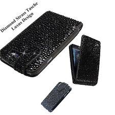 LUXUS Samsung Galaxy S2 i9100 Strass Flip Tasche Bling Case Hülle Schwarz