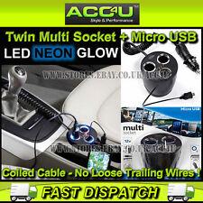 Anillo rms13 12v puede forma de 2 vías Twin Multi Socket + Micro Usb Cargador Adaptador De Corriente