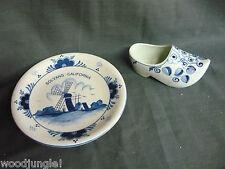 Vintage Delft Blue Holland Dutch Shoe Solvang Plate Windmill California Wooden