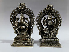 GODDESS LAXMI & GOD GANESHA STATUE ASHTADHATU  SCULPTURE INDIA 3 INCHES HIGH