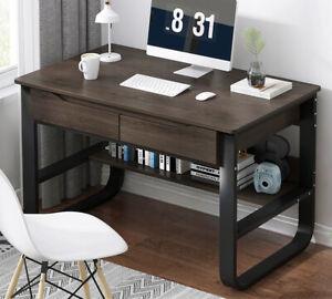 Computer Desk Home Office Study Desk Corner 2 Drawers Workstation PC Table 100CM