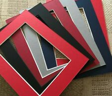 6  PICTURE FRAME MOUNTS OVERALL 8X6 INCH FOR 6X4 INCH PHOTO ASSORTED  COLOURS