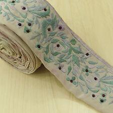 Vintage Indian Sari Border Antique Ribbon Wrap White Sewing Embroidered 1YD Trim