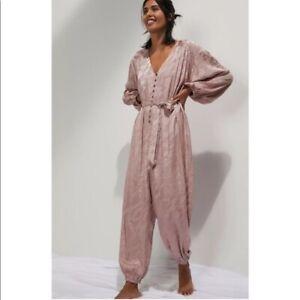 Anthropologie Large Laurentia Jacquard Jumpsuit Pink Rose Long Sleeve Belt L NWT