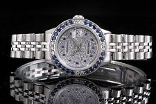 Rolex Steel Ladies Datejust with Diamonds & Sapphires on Dial & Bezel, Non Quick