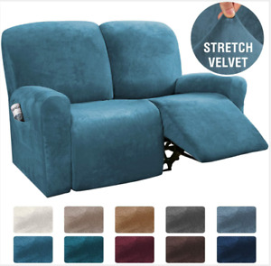 2-Seater Velvet Stretch Recliner Sofa Couch Cover All-inclusive Chair Slipcovers