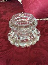 A VINTAGE THICK GLASS UNUSUAL SHAPED TEA LIGHT HOLDER # A