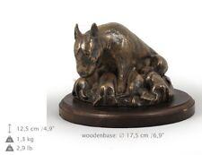 Bull Terrier mama, statue de chien sur une base en bois, limitée Art Dog FR