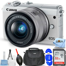 Canon EOS M100 Mirrorless Digital Camera with 15-45mm Lens (White) PRO BUNDLE
