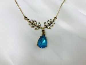 Blue Stone Drop Necklace with Pretty Leaf Detail