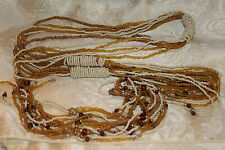 """VINTAGE GOLD,BROWN&WHITE GLASS SEED BEAD/ WOOD ACCENTS BELT/LARIET NECKLACE  70"""""""