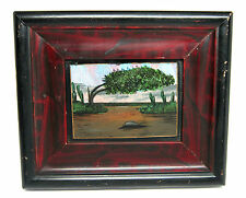 """Vintage BUTTERFLY WING Trees DESERT Cactus Scene 7.5"""" X 6.5"""" Framed Picture (A)"""