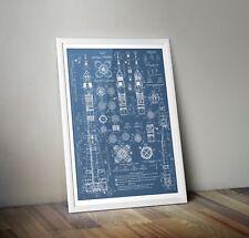 Soyuz Blueprints poster A3  A4 A5 Russian Rocket Print - Space Wall Art USSR