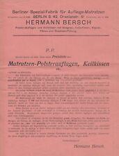 BERLIN, Prospekt 1930, Hermann Bersch Aufliege-Matratzen-Spezial-Fabrik