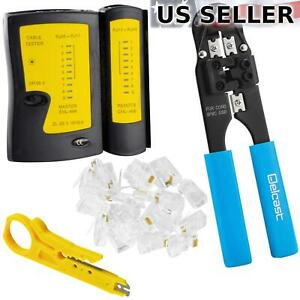 Network Tester +Cable Crimper +Stripper +50 RJ45 Connectors CAT5e/CAT6 Tool Kit