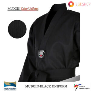 MUDOIN Black Color Taekwondo Uniform WTF Poom TKD Martial Arts MMA Akido WKF