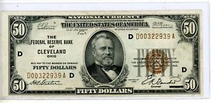 $50 1929 Cleveland Ohio OH National Currency Bank Note Bill Federal Reserve # 39