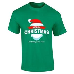 Mens Merry Christmas And Happy New Year Printed T Shirt Boys Short Sleeve Top