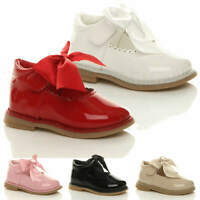 GIRLS KIDS CHILDRENS INFANT MARY JANE SCALLOPED RIBBON BOW SHOES SIZE