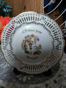 Vintage Old Ribbon Plate Present From Liverpool