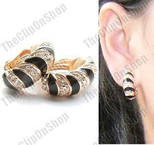 CLIP ON black GOLD FASHION enamel HUGGIE EARRINGS black zebra CLIPS half hoop