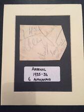 6 Arsenal Signatures 1935-36 Album Sheet On Mount