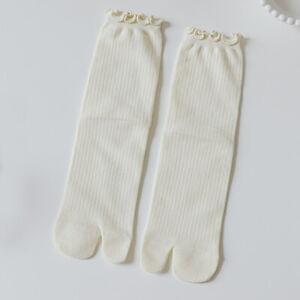 4 Pairs Women Girls Tabi Socks Split Two Toes Solid Soft Japanese Preppy Style