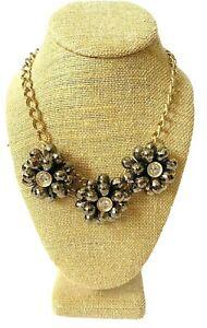 Statement Bib Necklace Black Gold Flower Rhinestone Boho Rhinestone Clusters