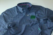 Bobby Jones Shirt Classic Summer Navy Blue Check BJK54004 $125 New LS Large L