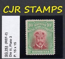 RHODESIA 1913 ADMIRAL 10/-  SG 253  DIE II   P.15   -  FINE  -   L/M/MINT