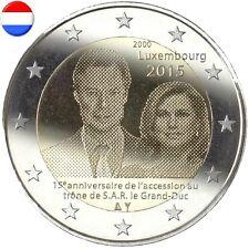 * LOT DE 5 PIECES - 2 EURO COMM - UNC - LUX 2015 - 15° ANNIV. ACC. TRONE