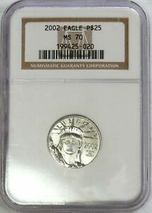 2002 PLATINUM $25 AMERICAN EAGLE 1/4 OZ STATUE OF LIBERTY COIN NGC MINT STATE 70