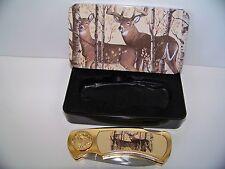 Collectors Lockback Knife with tin case Doe Deer Pocket Wildlife Gift