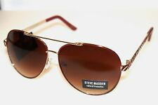 New! Steve Madden Designer Aviator Sunglasses s5570 Gold/Rose Gold 100% Uv