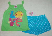 Toddler Baby Girls Outfit GREEN TANK TOP Love AQUA SHORTS Dots 12 18 24 MO 3T