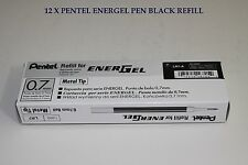 12 pcs Pentel Energel  Refill 0.7mm Black color Made in Japan one dozen in box
