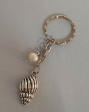 Conch Shape Shell and Rice Pearl on extended key Ring - Tibetan Silver