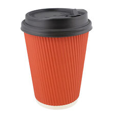 Lot45 Paper Cups with Lids, 100 Pk - 12 oz Coffee Cups with Rippled Sleeve, Red