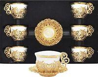 Turkish Greek Arabic Coffee Espresso Cup Saucer Porcelain Set (Gold Color)