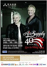 """AIR SUPPLY """"40 YEARS LIVE IN HONG KONG"""" 2016 CONCERT TOUR POSTER-Soft Rock Music"""