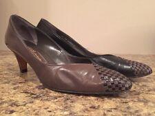 Vintage Bally Switzerland Lisa Brown Leather Designer Heels Pumps 9.5AA 41 9.5