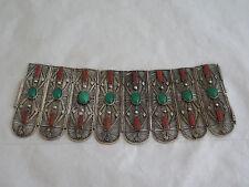 Incredible Art Deco Filigree Silver, Carnelian & Chrysoprase Bracelet