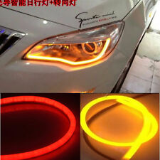 2 x 60cm LED Audi Type Flexible SwitchBack Strip DRL Dual Colour-Red & Amber