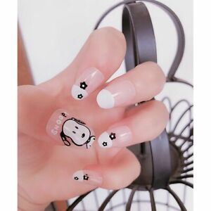 Women's Heart Printed Design Press On Nails With Glue False Matte Fingernail Tip