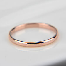18K rose gold plated plain classic 2mm thin engagement wedding ring US size 8